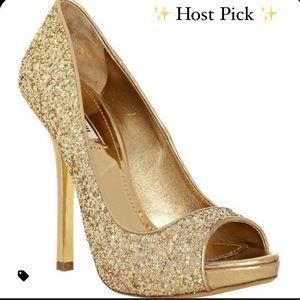 ✨ Miu Miu Gold Glitter Peep Toe Heels ✨